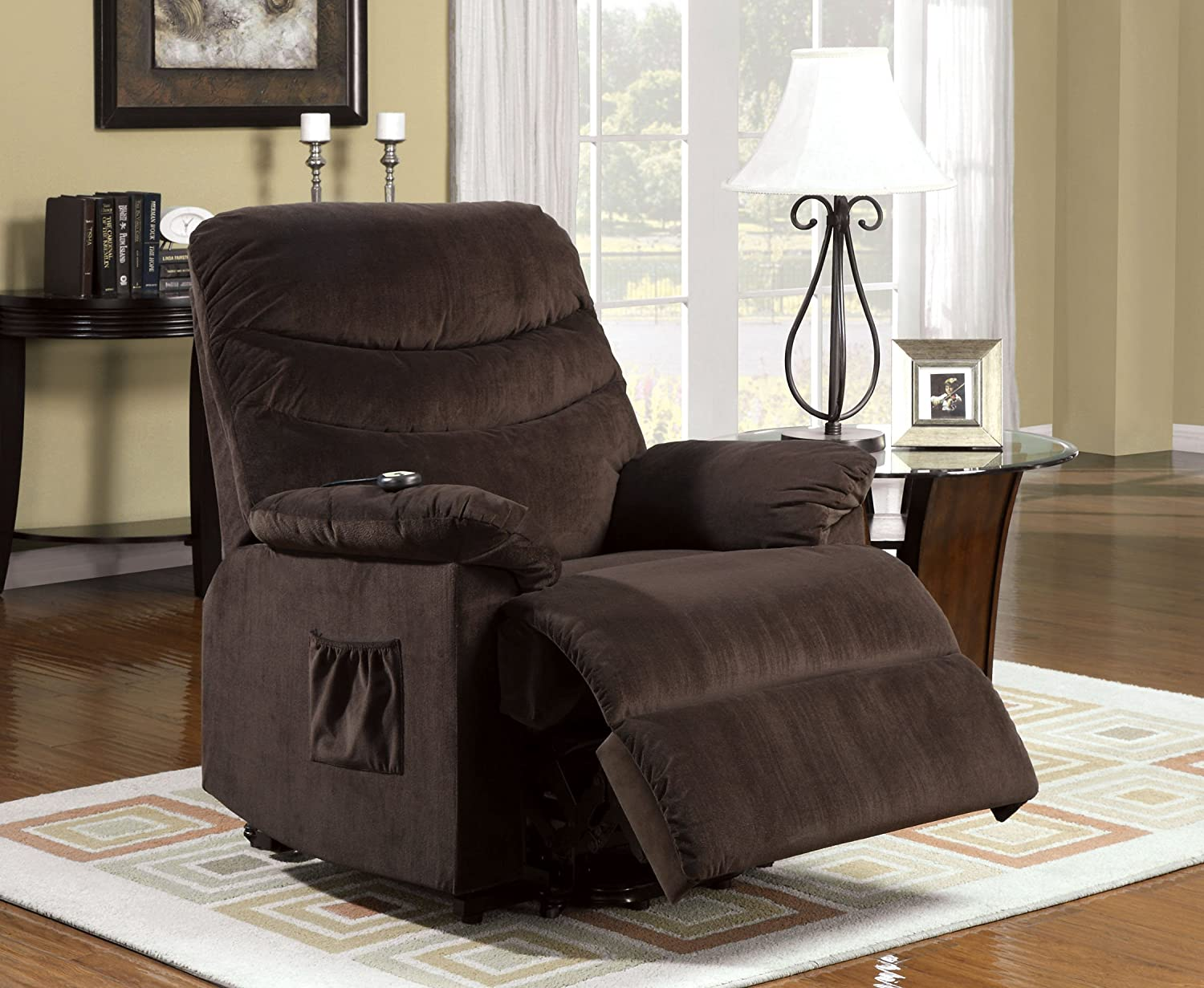 amazoncom furniture of america venturi bella fabric recliner with standassist power lift system cocoa brown kitchen u0026 dining