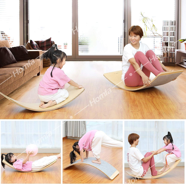 Homfa Planche d/équilibre Balance Board Set de 2 Planche /à Bascule en Bois avec Feutre pour Yoga Grand 109x45x1.8cm Petit 91x30x1.8cm