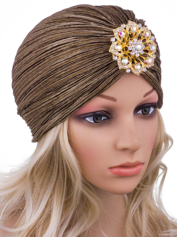 Vijiv Women's Vintage Lurex Knit Turban Beanie Hats Headwraps for 1920s Cocktail Party Gold