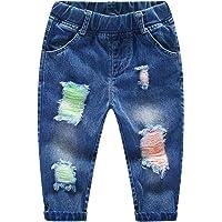 KIDSCOOL SPACE Vaquero Rasgado para bebé, Pantalones de Mezclilla Desgastados con Cintura elástica para niños pequeños