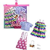 Barbie Fashions 2-Pack Clothing Set, 2 Outfits Doll Include Pink Polka-Dot Jumper, Purple Polka-Dot Top, Striped Dress & 2 Ac