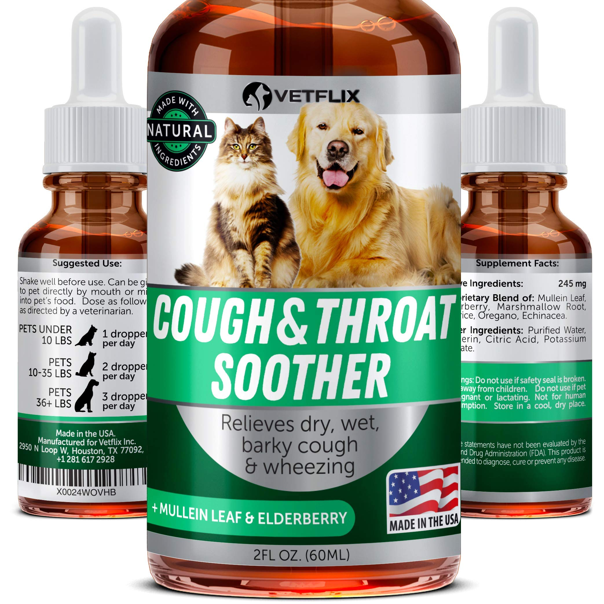 Vetflix Cough & Throat Soother for Dogs and Cats - Made in USA - Premium Herbal Cough Supplement - Cat Asthma & Kennel Cough Away - Mullen Leaf & Elderberry - Help with Dry, Wet & Barky Pet Cough by Vetflix