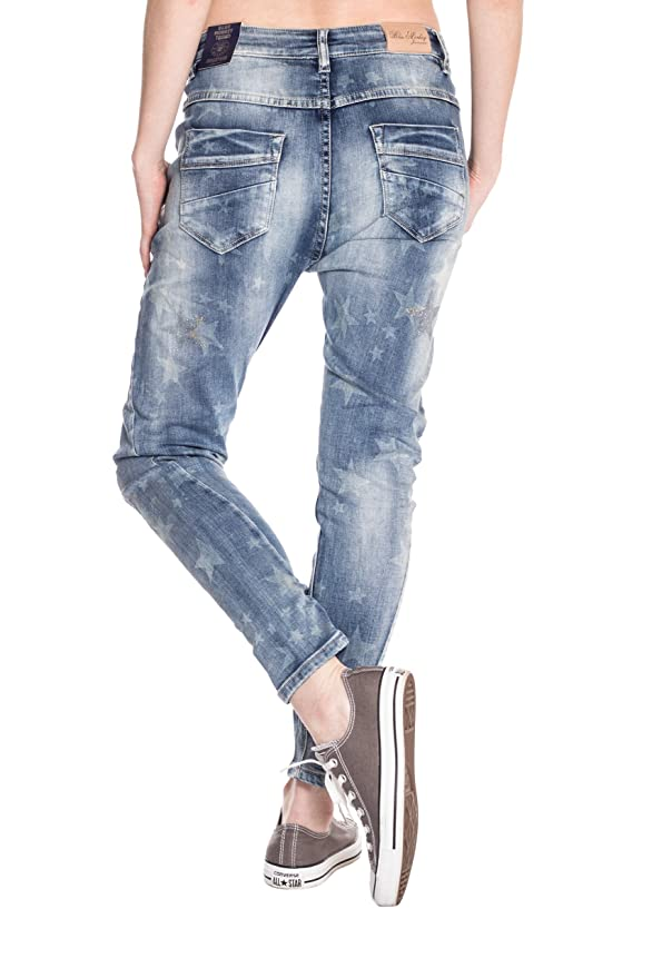 Blue Monkey Damen 78 Cropped Boyfriend Jeans Sina 1464 Star Print