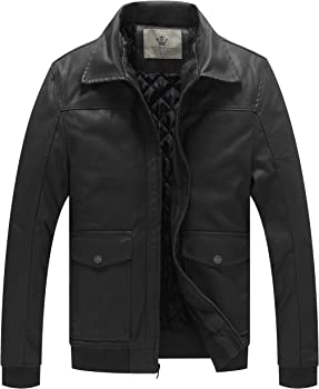 WenVen Men&#39s Stand Collar Faux Leather Moto Jacket w/ Removable Hood