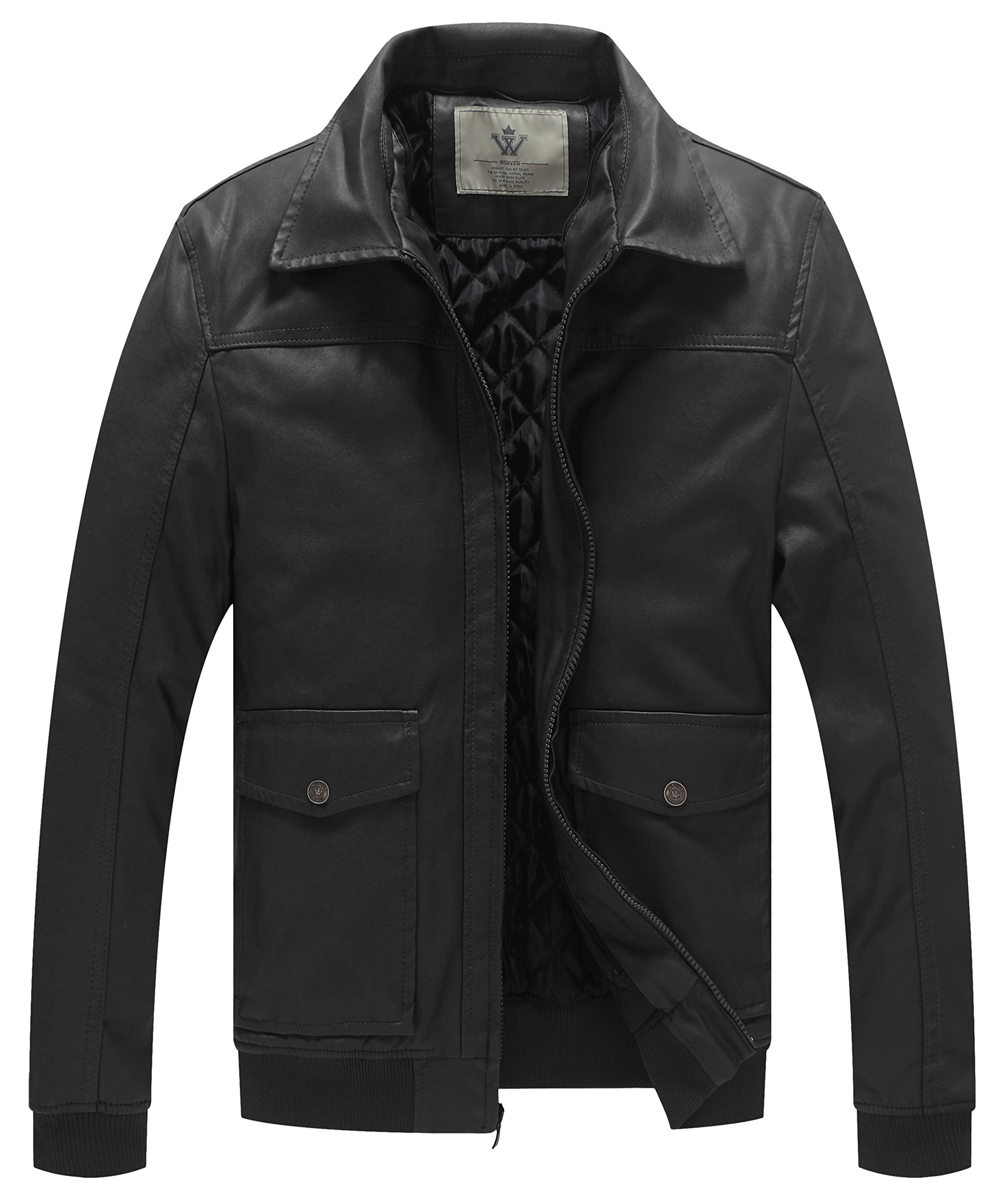 WenVen Men's Leather Jacket with Removable Hood(Black, Size XL)