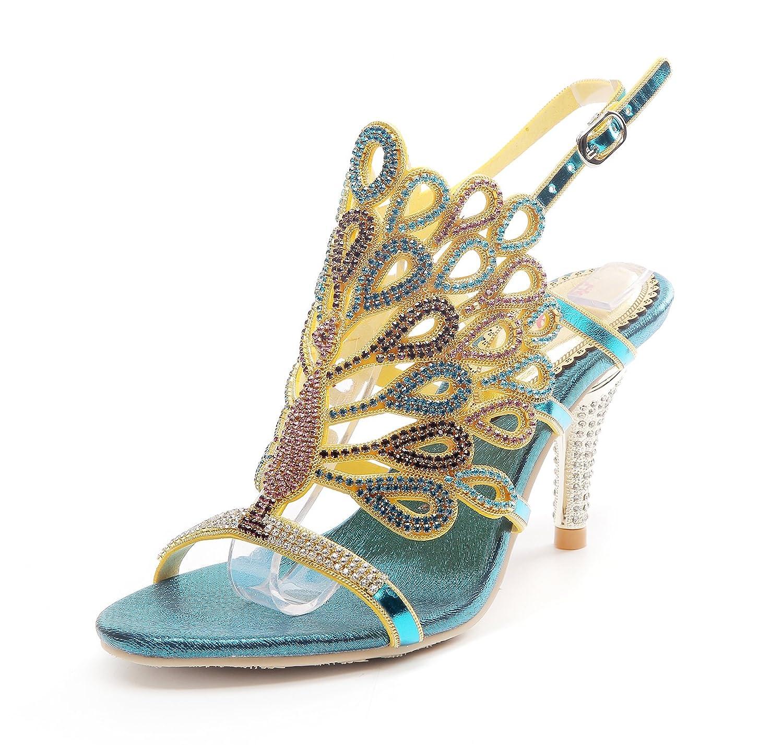 Women's Handmade Rhinestone Peacock Pattern Blue Glamor Strappy High-Heel Sandals - DeluxeAdultCostumes.com