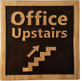 """Office Upstairs, Decorative Wood Plaque, Carved & Stained, Office Sign, 10"""" x 10"""""""