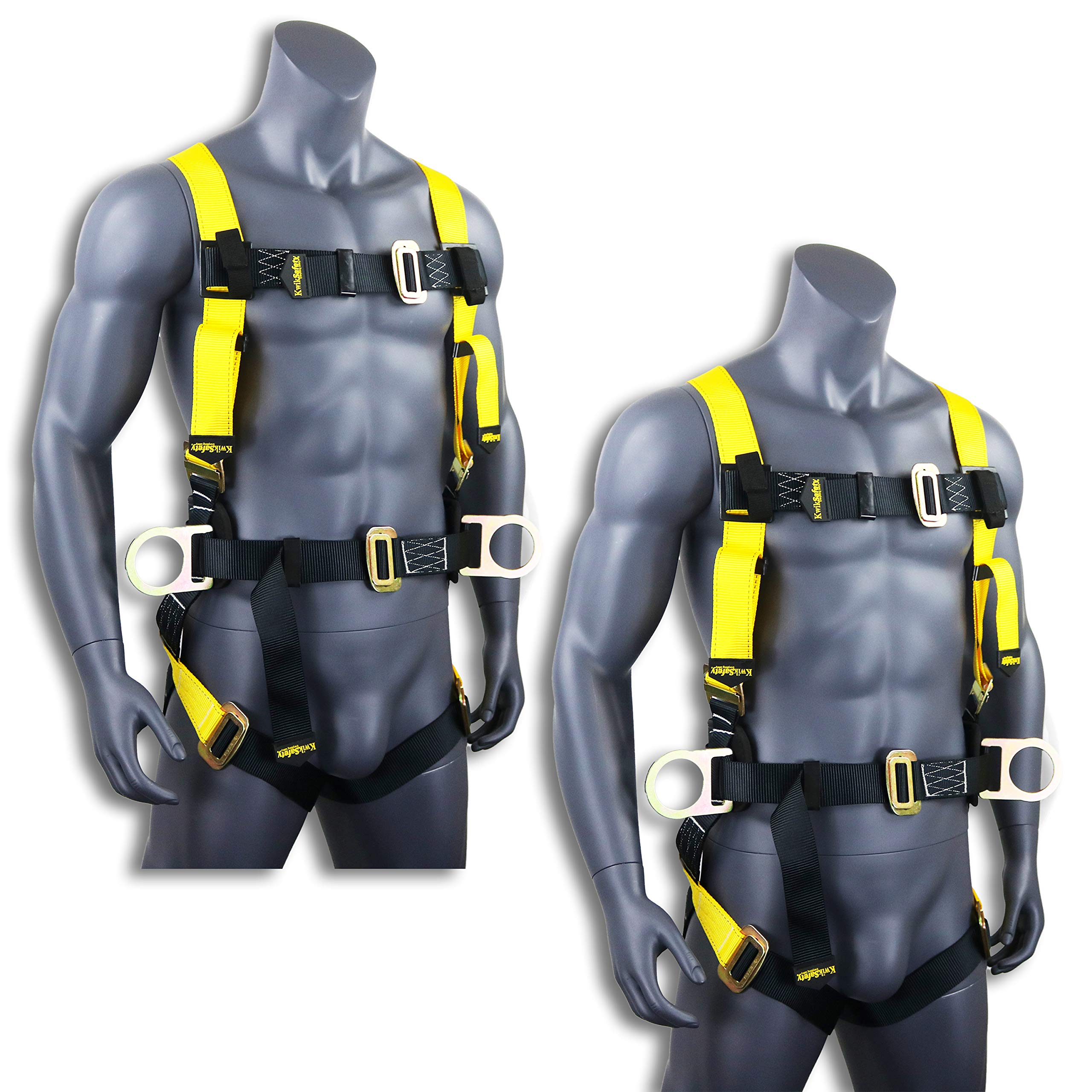 KwikSafety (Charlotte, NC) 2 PACK HURRICANE   OSHA ANSI Fall Protection Full Body Safety Harness w/Back Support, Personal Protective Equipment, Dorsal Ring Side D-Rings Construction Industrial Roofing