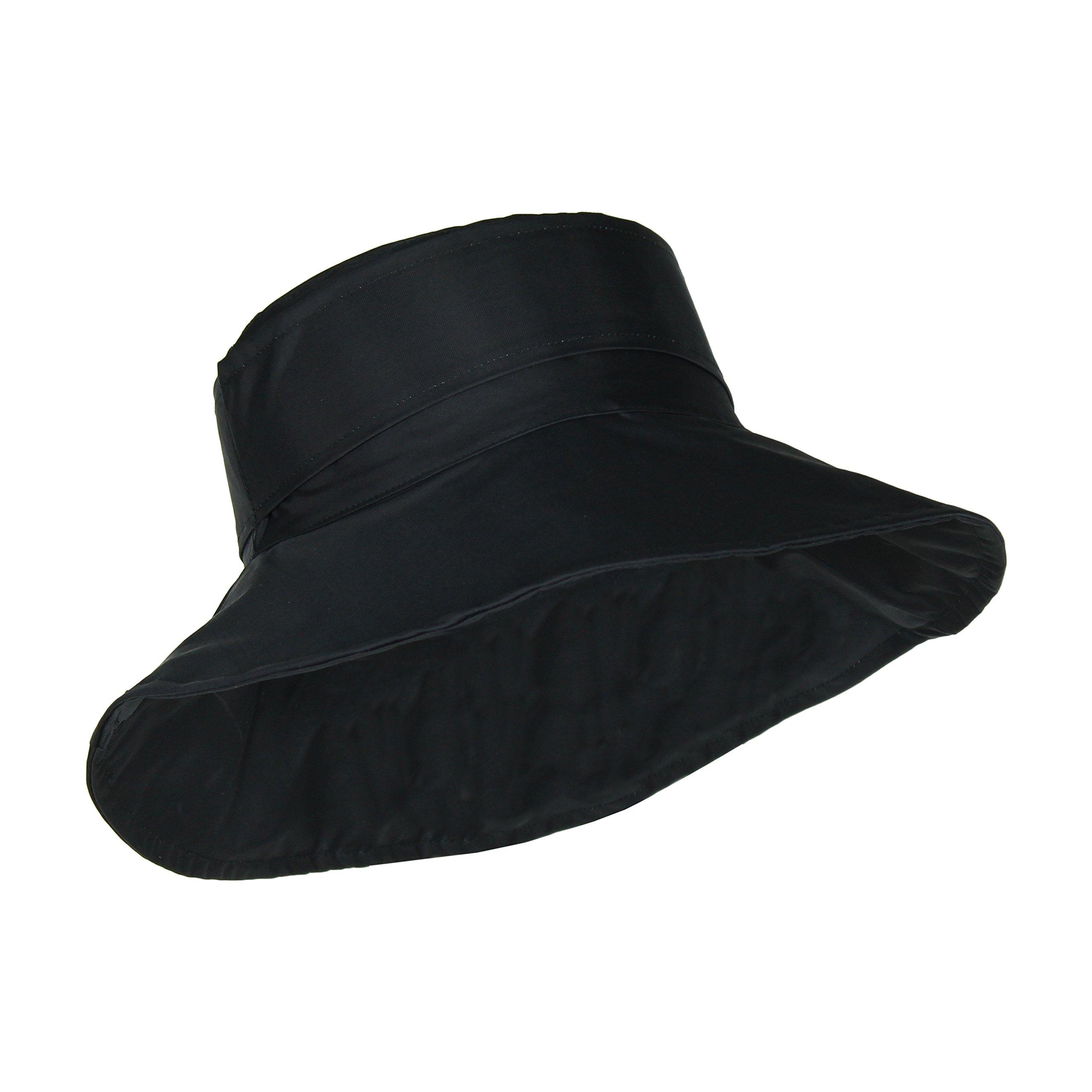 Black Packable Bucket Rain Hat w/ Buckle, 3.5 inch Wide Brim