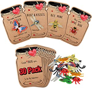 Valentines Day Cards for Kids - 30 Pack Love Bug Card Bulk w 6 Different Bugs Toy - Funny Valentine Exchange Cards for Boys Girls School Class Classroom Party Favors