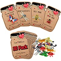 Valentines Day Cards for Kids - 30 Pack Love Bug Card Bulk w 6 Different Bugs Toy - Funny Valentine Exchange Cards for…