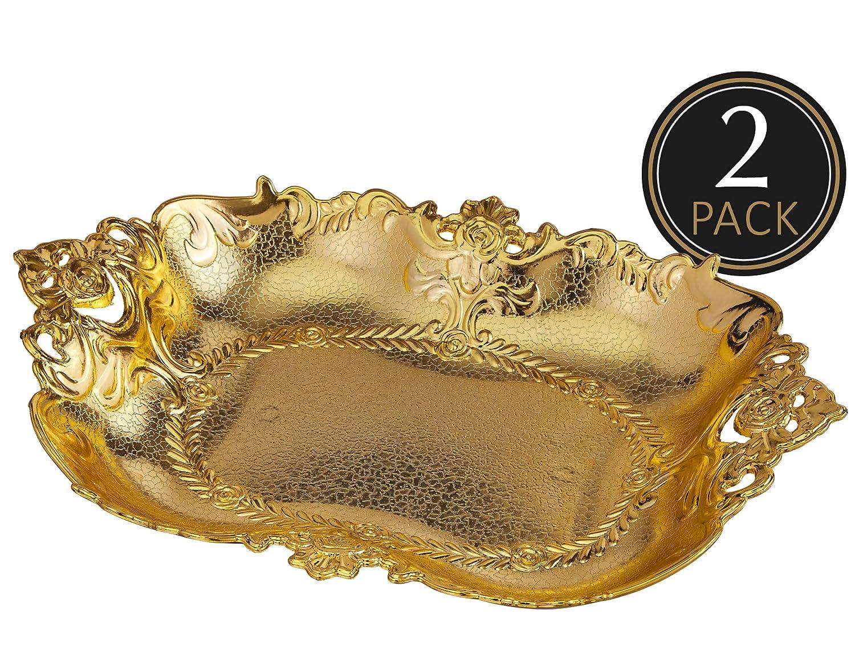 Impressive Creations Reusable Decorative Serving Basket – Plastic Platter with Elegant Gold Finish – Functional and Modern Weaved Design