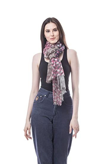 a305488c9f Melody 100% Wool Multi Pink Navy Brown Scarf Shawl for Evening ...