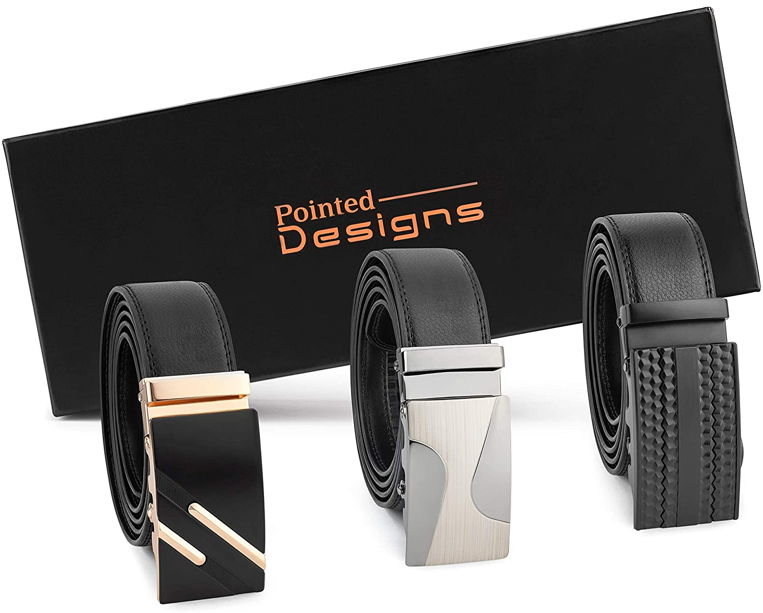 Men's Belt and Buckle Gift Set - 2 Black Leather Belts With 3 Changeable Metal Buckles in Nice Gift Box
