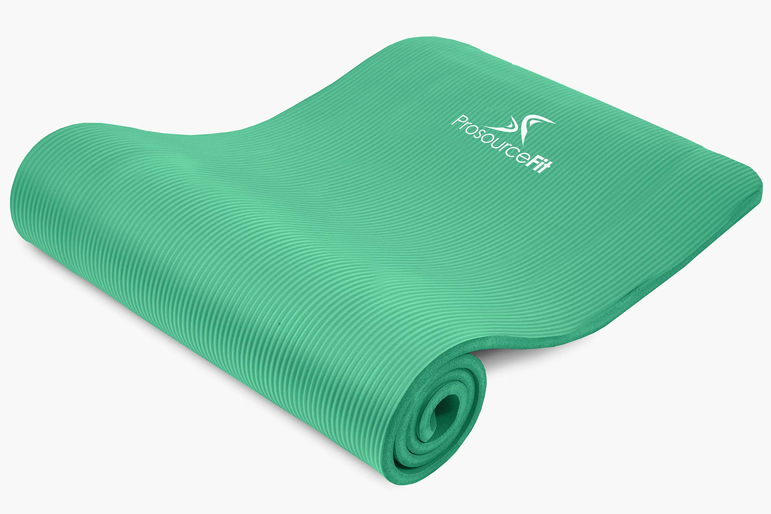 ProsourceFit Extra Thick Yoga and Pilates Mat ½'' (13mm), 71-inch Long High Density Exercise Mat with Comfort Foam and Carrying Strap, Green