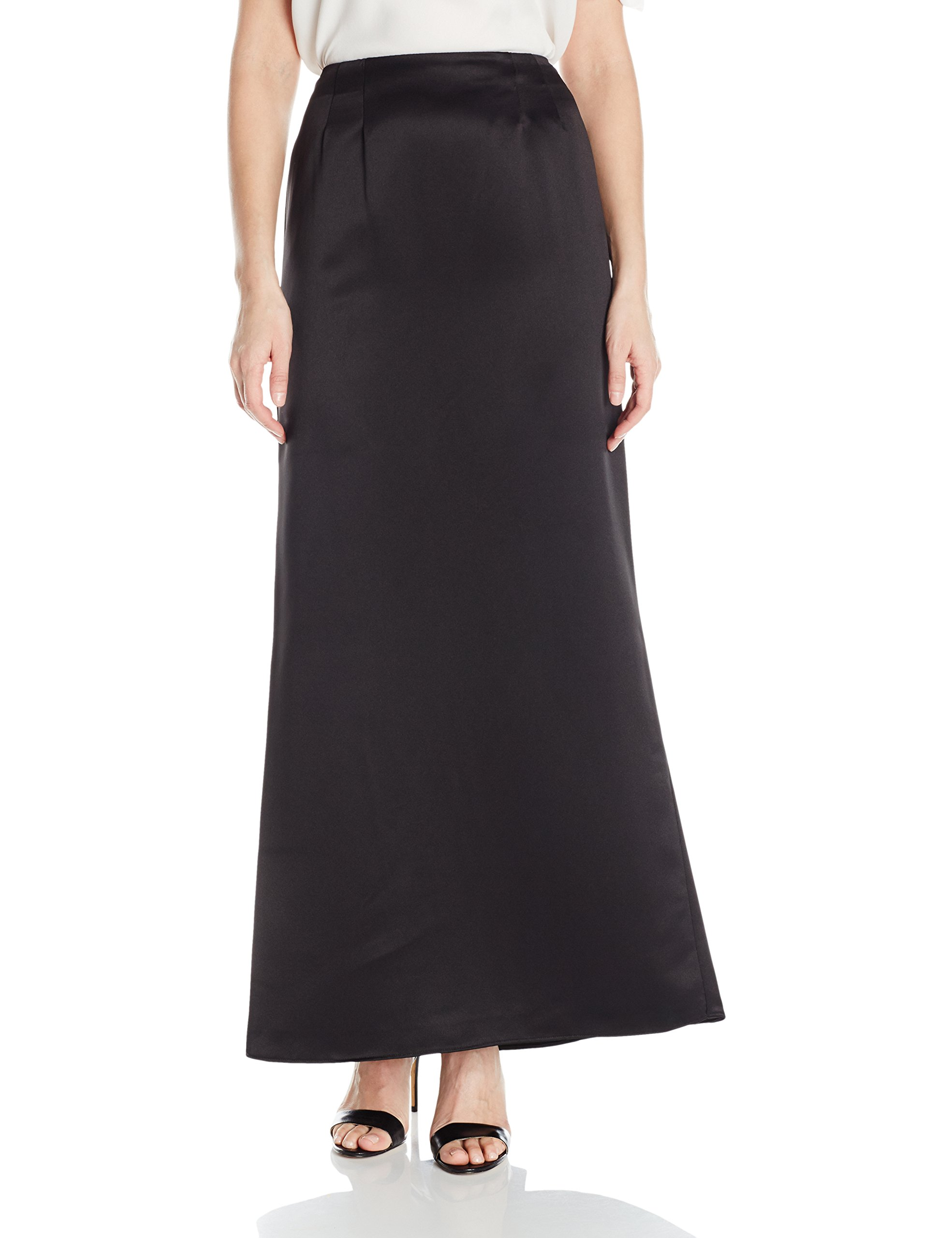 Alex Evenings Women's Long Satin Fishtail Occasion Skirt, Black, M by Alex Evenings