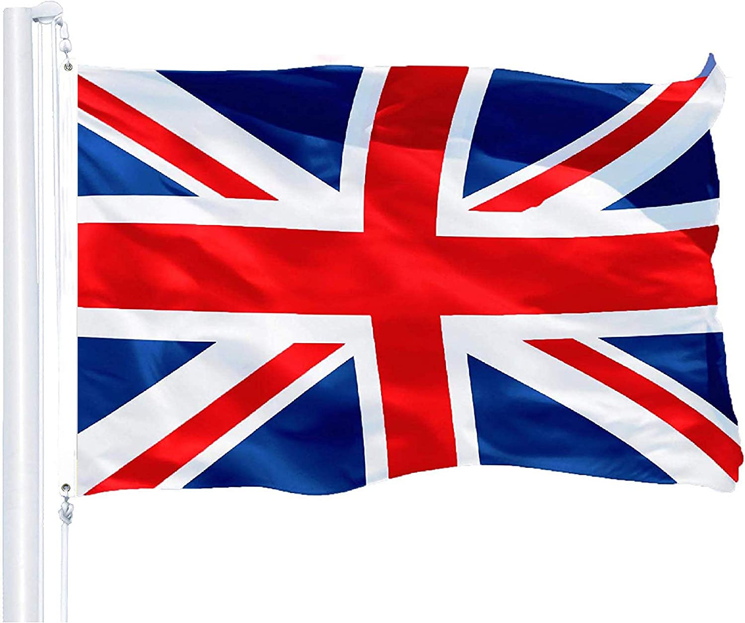 G128 – United Kingdom Flag (British, Union Jack) | 3x5 feet | Printed 150D – Indoor/Outdoor, Vibrant Colors, Brass Grommets, Quality Polyester, Much Thicker More Durable Than 100D 75D Polyester