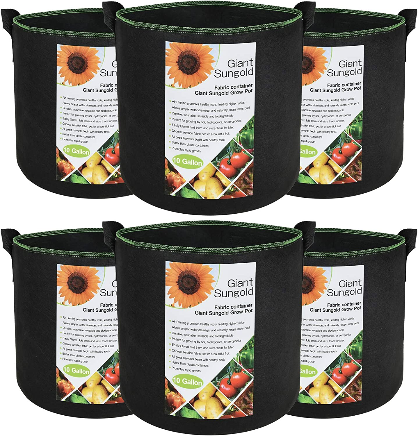 6-Pack 10 Gallon Grow Bags, Giant Sungold Thickened Non-Woven Fabric Pots with Handles, Heavy Duty Aeration Grow Bag Planters Vegetables, Flowers, Garden Planters Nursery Planters
