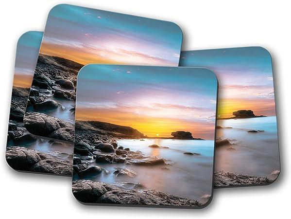 Juego de 4 posavasos Tarajalejo Fuerteventura – España Sunset Sunrise Sea Gift #14931: Amazon.es: Hogar
