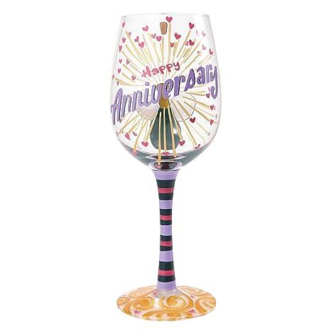 "Designs by Lolita ""Happy Anniversary"" Hand-painted Artisan Wine Glass, 15 oz."