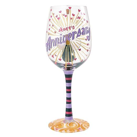 Enesco Lolita 4054093 Vidrio cumpleaños Feliz Standard Copa de Vino, 22,5 cm, Multicolor