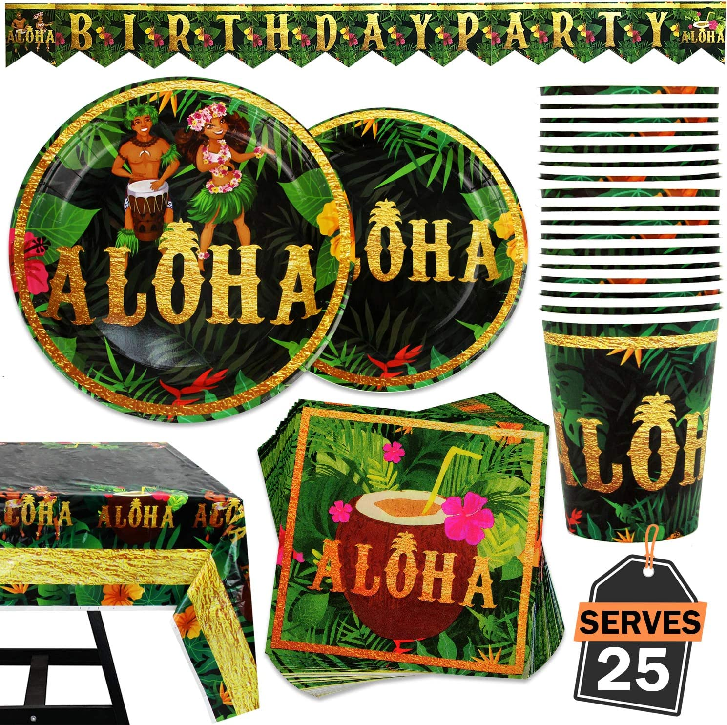 102 Piece Hawaiian, Luau, Aloha Party Supplies Satz Including Banner, Plates, Cups, Napkins, und Tablecloth, Serves 25