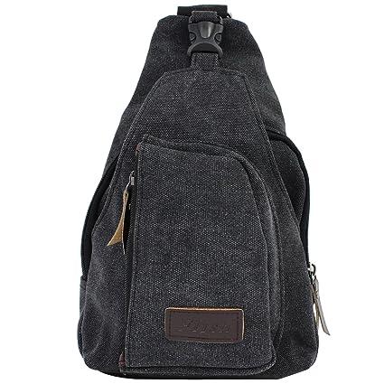 ab2c5a76cf AIKE Men Canvas Shoulder Casual Bag Sling Chest Bag Traveling Bag (Black