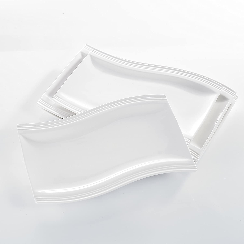 Assiette Creuse /à Soupe Assiettes /à Dessert S/érie Flora 30pcs Service de Table Porcelaine 6pcs pour Assiette Plate Tasses avec Soucoupes Service /à Caf/é Th/é Mug Vaisselles Blanc MALACASA