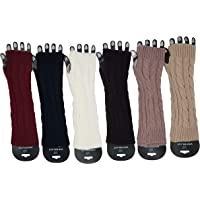 6 Pairs Arm Warmers for Women, Cable Knit Warm Winter Long Sleeve Fingerless Gloves Mittens