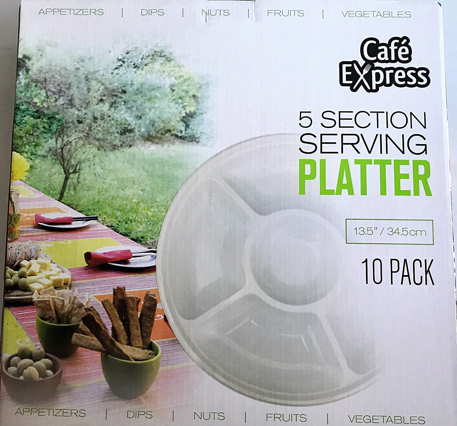 10 Piece Cafe Express 5 Section Serving Platter 34.5cm White Heavy Duty