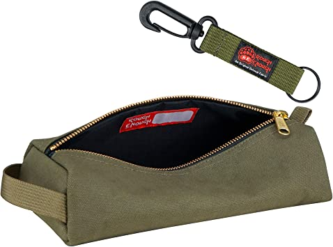 Rough Enough Canvas Small Tool Bag Pouch Multi Tool Storage Pliers Organizer Pencil Case Box for School Art Supplies with Zipper in Military Green