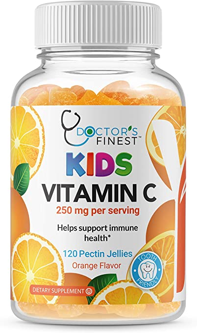 Doctors Finest Vitamin C Gummies for Kids, Vegan, GMO Free & Gluten Free, Great Tasting Orange Flavor Pectin Chews, Kids Dietary Supplement, 120 Jellies [60 Doses]
