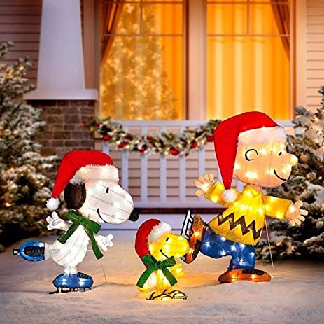 outdoor lighted peanuts gang ice skating christmas yard decoration sculpture scene