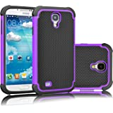 Galaxy S4 Case, Tekcoo(TM) [Tmajor Series] [Purple/Black] Shock Absorbing Hybrid Rubber Plastic Impact Defender Rugged Slim Hard Case Cover Shell For Samsung Galaxy S4 S IV I9500 GS4 All Carriers