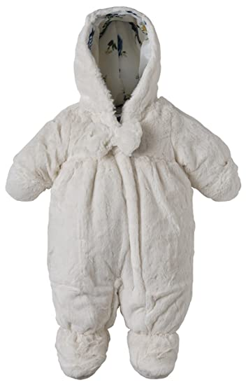 1c5d1396c Amazon.com: Rothschild Baby Girls Hooded Newborn Faux Fur Footed Snowsuit  with Hand Foldover - Vanilla (Size 6/9M): Clothing