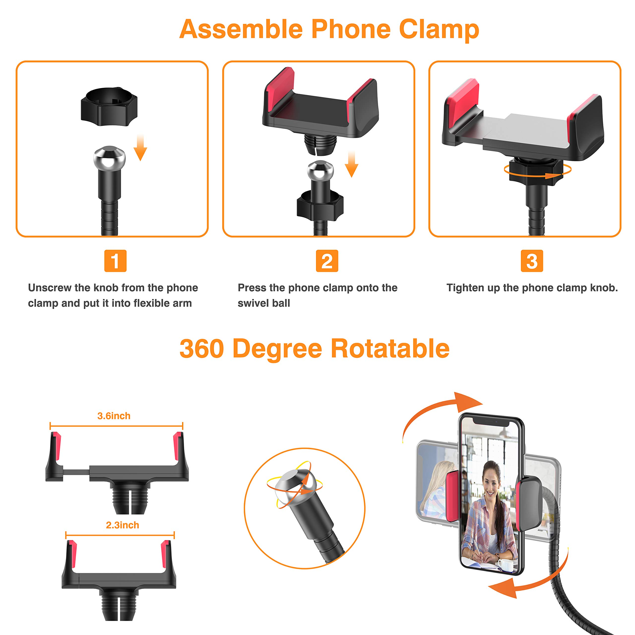 Selfie Ring Light, UPGRADED Selfie Light with Cell Phone Holder Stand for Live Stream Makeup Including Remote Shutter, LED Camera Light 3 Light Mode 10 Level Brightness Flexible Arm for iPhone/Android by Erligpowht (Image #6)