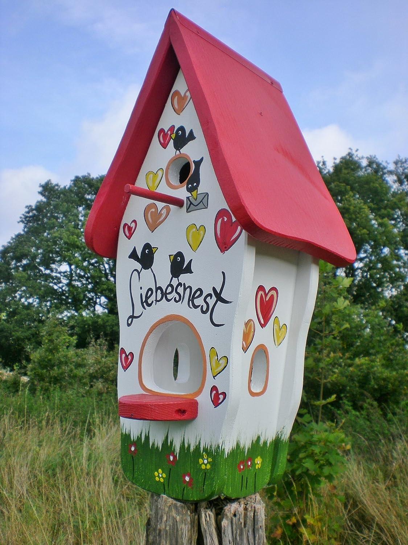 Original Die Vogelvilla, Minivilla Spezial Liebesnest Brief, Vogelhaus & Nistkasten, 2in1, weiss