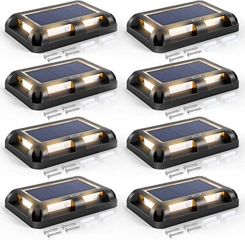 CLY Solar Deck Lights Outdoor Driveway Dock LED Light Solar Powered Waterproof Lights for Step Sidewalk Stair Garden Ground Pathway Yard Warm White 8 Pack