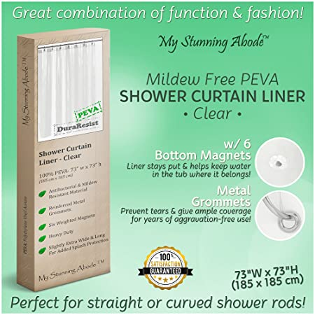 Mildew Free, Antibacterial Shower Curtain Liner W/ Extra Bottom Magnets  (6), Fully Waterproof, Reinforced Grommets, Nontoxic PEVA For A Healthy, ...