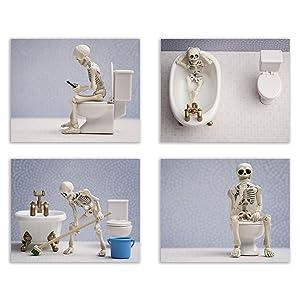 Skeleton Bathroom Prints - Funny Hipster Skull and Bones Wall Art Decor - Set of 4 (8 x 10) Photos