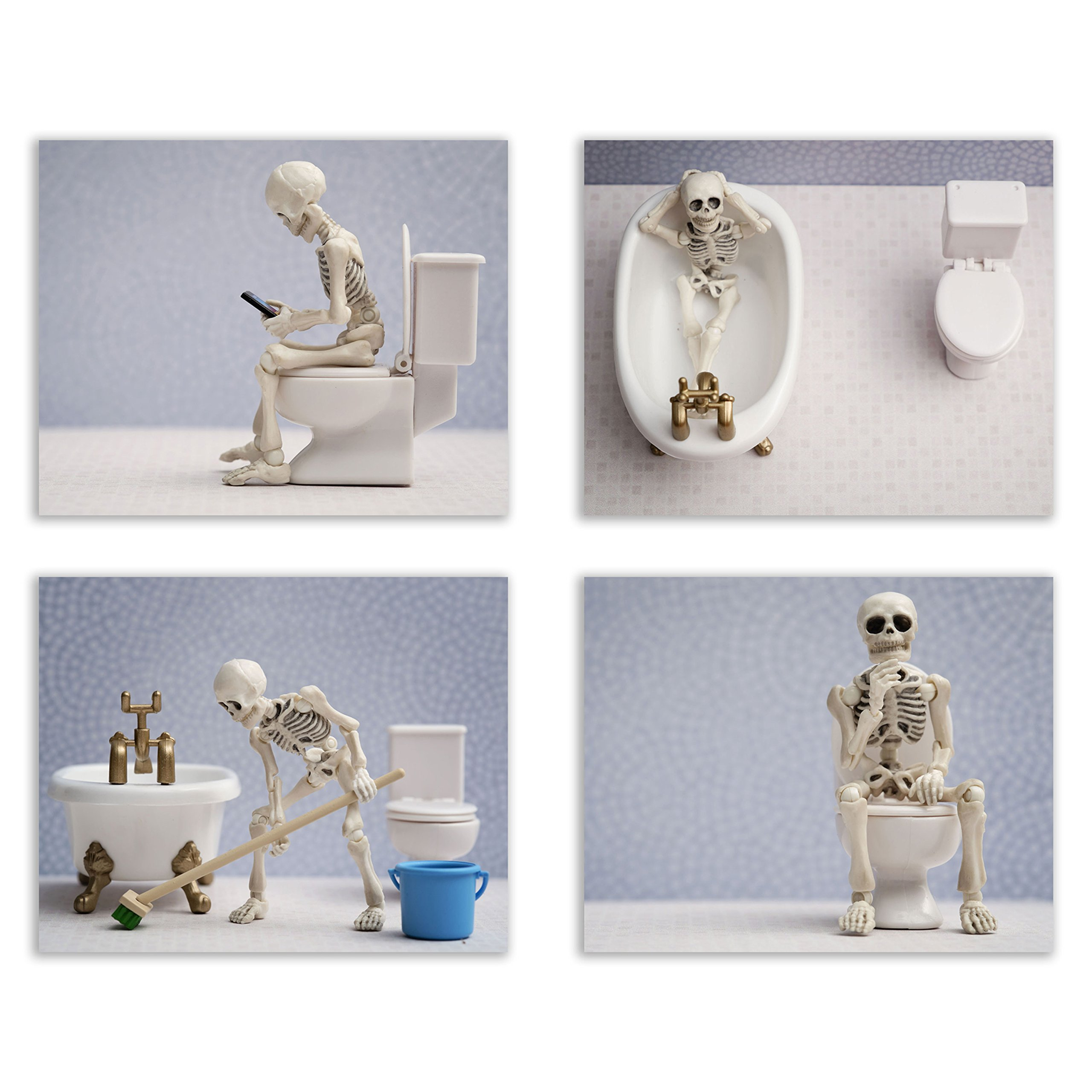 Skeleton Bathroom Prints – Funny Hipster Skull and Bones Wall Art Decor – Set of 4 (8 x 10) Photos