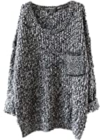 Women's Casual Unbalanced Crew Neck Knit Sweater Loose Pullover Cardigan