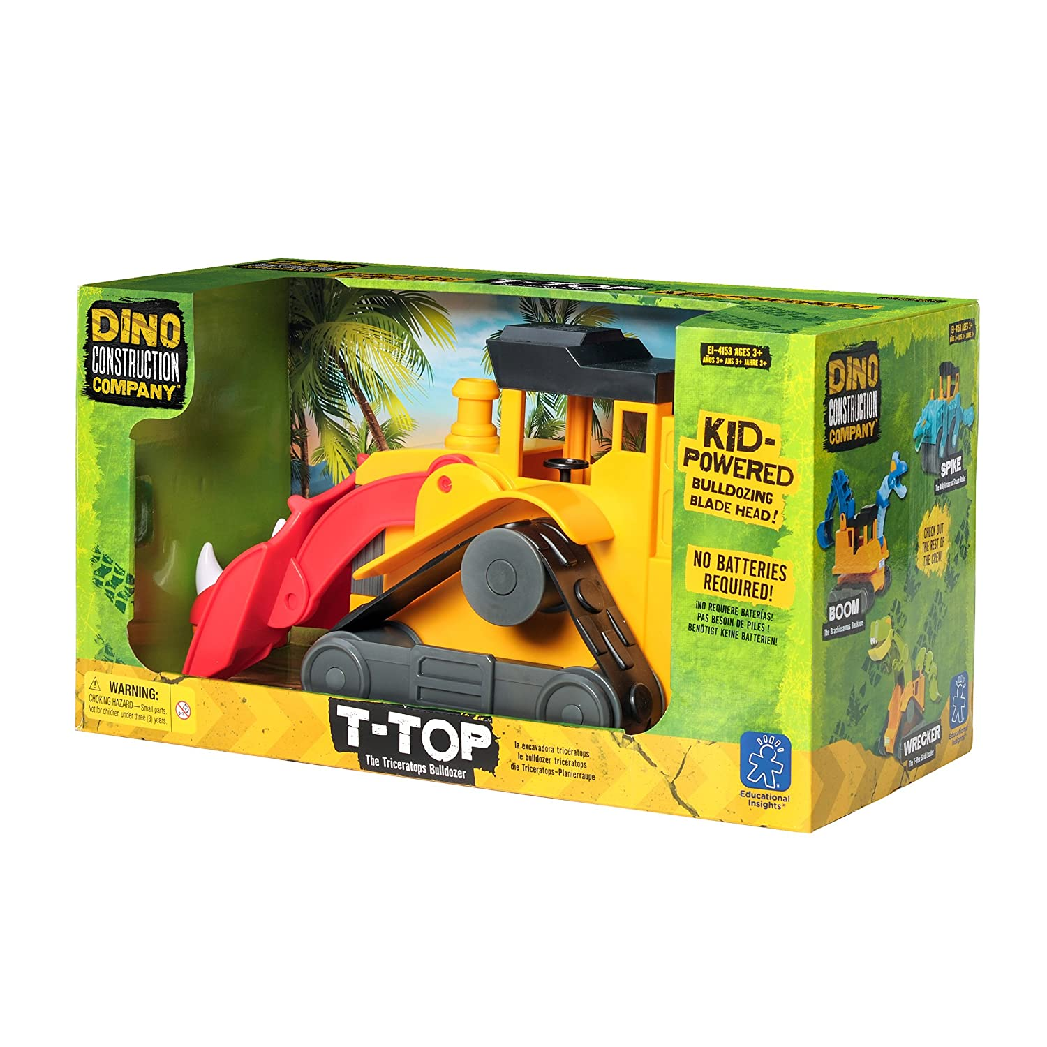 Amazon.com: Educational Insights Dino Construction Company—T-Top the Triceratops Bulldozer: Toys & Games