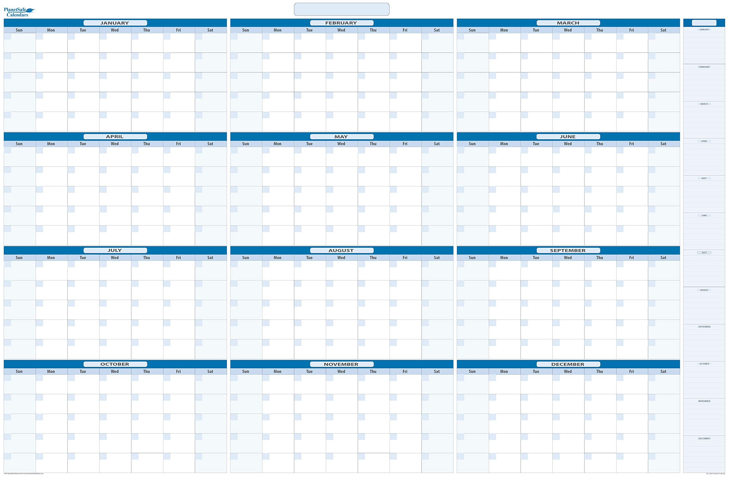 Sky Blue Large Yearly Undated Dry/Wet-Erase Calendar 38 in. x 58 in. with monthly January -December listed (MA) by PlanetSafe Planners & Calendars