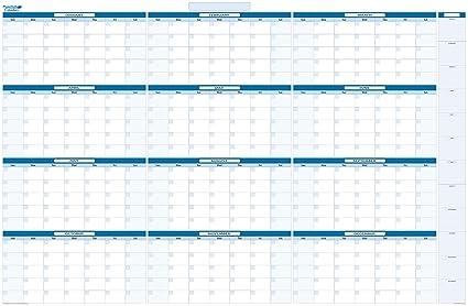 amazon com sky blue large yearly undated dry wet erase calendar 38