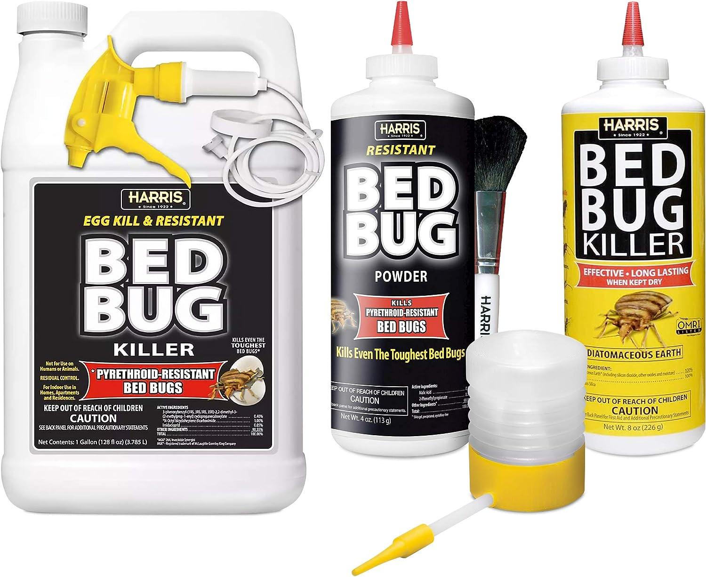Amazon Com Harris Bed Bug Killer Value Bundle Kit Diatomaceous Earth Powder Toughest Bed Bug Powder Toughest Gallon Spray And Powder Duster Garden Outdoor