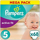 Pampers - Active Fit - Couches Taille 5 (11-23 kg/Junior) - Mega Pack (x68 couches)