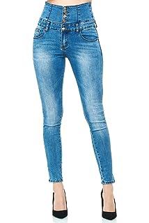 Jeans Gr 38 light blue enge Stretchjeans hoher Bund high waist Hose