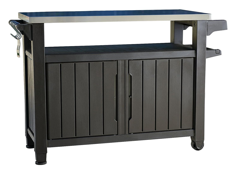 Delightful Amazon.com : Keter Unity XL Indoor Outdoor Entertainment BBQ Storage Table  / Prep Station / Serving Cart With Metal Top : Garden U0026 Outdoor