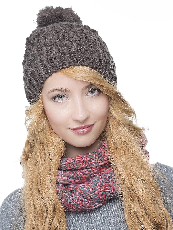 Damen Strickmütze mit Bommel - Beanie Wintermütze Mütze 261
